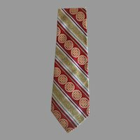 Vintage Wide Silk Brocade Tie with Greek Motif