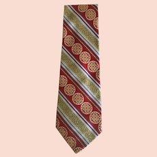 Vintage Wide Silk Brocade Tie with Greek Motif