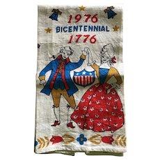 Vintage American Bicentennial 1776 - 1976  linen Tea Towel