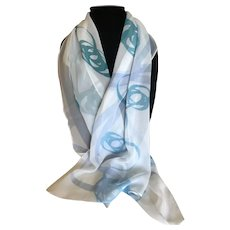 Vintage Silk Chiffon Ribbon Motif Rectangular Scarf