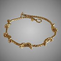 Vintage Anne Klein Gold Plate Love Knot Necklace