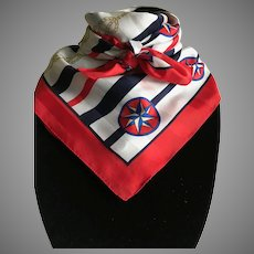 Vintage Patriotic Nautical Scarf in Red White and Blue