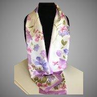 Vintage Oscar de La Renta Rectangular Floral Silk Scarf