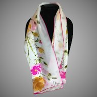 Vintage Vera ladybug logo pink and yellow roses rectangular scarf