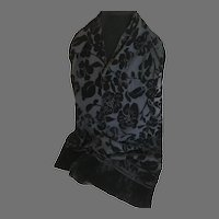 Vintage Black Silk and Cut Velvet Rectangular Scarf