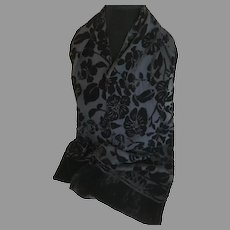 Vintage Black Silk and Cut Velvet Rectangular Scarf