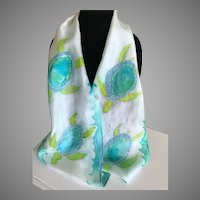 Vintage Hand Dyed Silk Sea Turtle Scarf