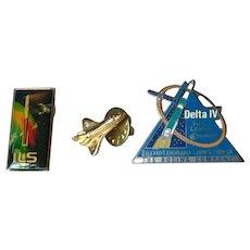 Three rare NASA Space Industry Pins