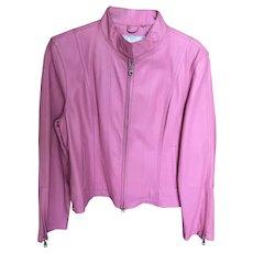 Vintage Pink Leather Biker Jacket by Wilson Leather