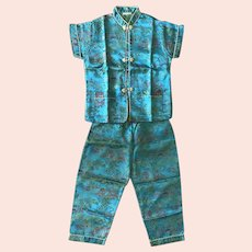 Vintage Chinese Turquoise Silk Pajamas Children Size 20
