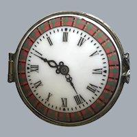 Miniature Tartan Plaid Porcelain Clock Motif Box