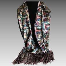 Vintage Long Silk Library Motif Scarf