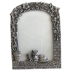 Vintage Pewter Picture Frame of Cats on a Wall