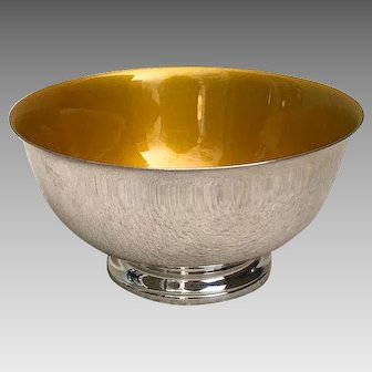 Mid Century Modern Reed and Barton silver plate bowl gold enamel interior