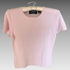 Vintage Short Sleeve Pink Cashmere Sweater