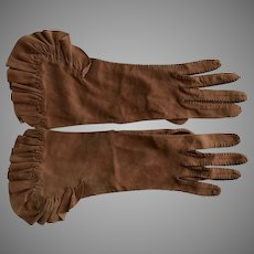 Vintage Handmade Chamois Ruffled Gloves SZ S