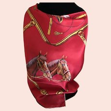 Vintage Silk Satin Quarter Horse Scarf