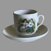 Vintage German Children Doll Chocolate Cup and Saucer
