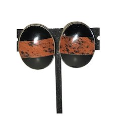 Vintage Obsidian Banded Clip Earrings From Mexico