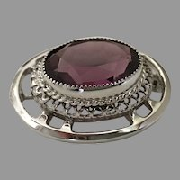 Vintage Sterling Silver Danecraft Faceted Amethyst Glass Brooch / Pin