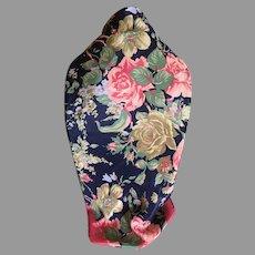 Vintage Navy and Pink Floral Silk Polyester Blend Scarf