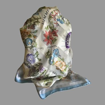 Vintage Four Seasons Floral Silk Scarf I