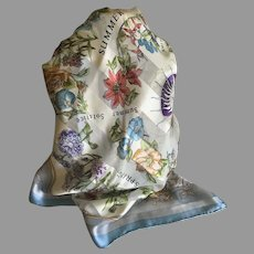 Vintage Soft Blue Four Seasons in Flowers Silk Scarf
