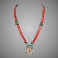 Vintage BoHo Tribal Afgan Kuchi Necklace in Coral Glass Beads Turquoise Nuggets Secret Compartment