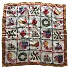 Vintage Silk Satin Christmas Scarf