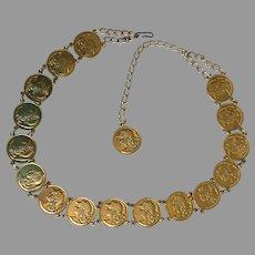 Vintage BoHo Faux Roman Coin Belt