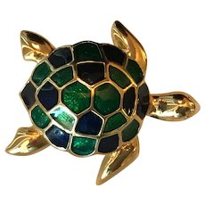 Vintage Blue and Green Enameled Sea Turtle Brooch / Pin