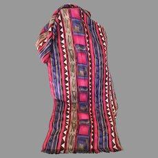 Vintage Southwestern Design Silk Scarf in Warm Colors