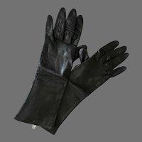 Vintage Italian Silk Lined Black Kid Leather 3/4 length Gloves