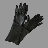Vintage Italian Silk Lined Black Kid Leather 3/4 length Gloves