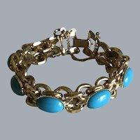 Retro Bohemian Faux Turquoise Cabochon Chain Bracelet