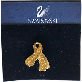 Swarovski Yellow Crystal Ribbon Support our Troops Brooch / Pin
