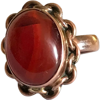 Vintage Carnelian Cabochon in Copper Setting