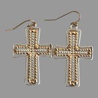 Vintage Dangling Cross Earrings