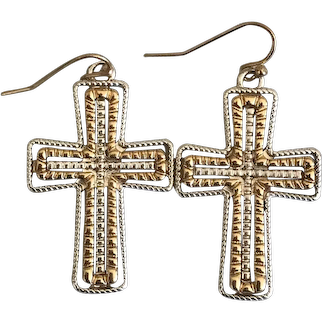 Vintage Dangling Cross Earrings