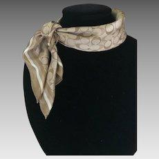Vintage Beige Silk Coach logo scarf