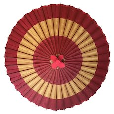 Vintage Wagasa Traditional Japanese Waxed Paper and Bamboo Umbrella