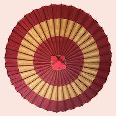 Vintage Wagasa Traditional Japanese Waxed Paper and Bamboo Umbrella