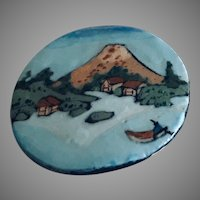 Rare Mary Vaughn Hand Painted Pottery Pin / Brooch