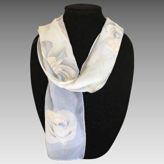 Vintage georgette crepe silk Halston in pale smoky blue