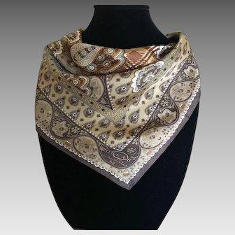 Vintage bronze Oscar de le Renta silk scarf
