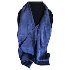Vintage Italian navy jacquard silk scarf
