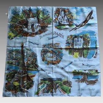 Vintage blue Paris souvenir scarf