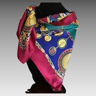 Vintage Talbots silk twill Roman coin scarf