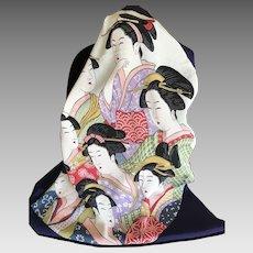 Vintage Japanese kimono silk Geisha scarf