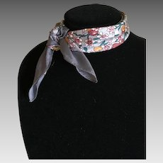 Liberty of London skinny scarf ponytail scarf cherries and blossoms